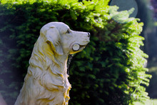 The Sculpture Of Dog In The Ga...