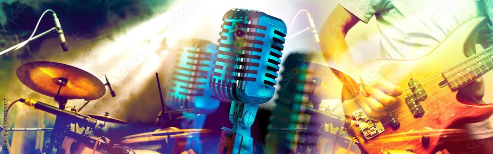 Fototapety, obrazy: Diseño de música y conciertos.Entretenimiento y festival de música.Batería y guitarra en el escenario.Microfono vintage.