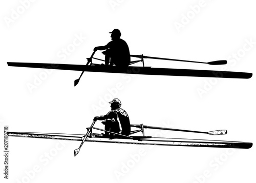 Fotografie, Obraz  rower sketch and silhouette - vector