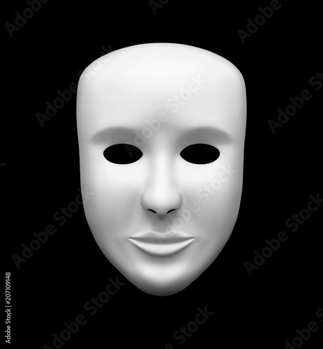 Cuadros en Lienzo  White theatrical mask isolated on black