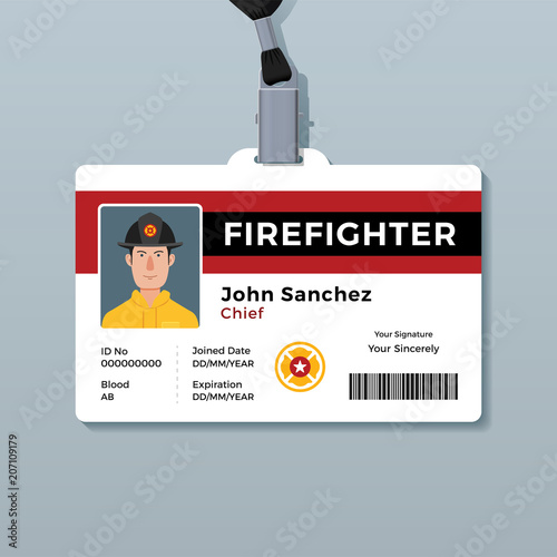 firefighter id badge template buy this stock vector and explore