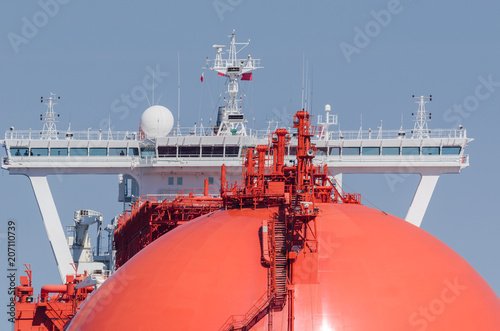 LNG TANKER - Portrait of a big red ship