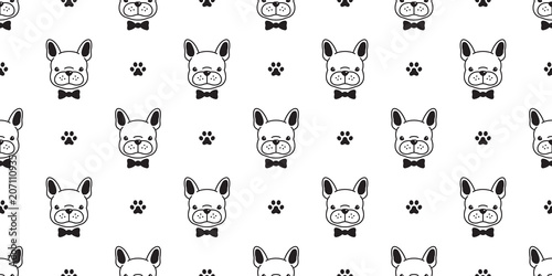 Dog Seamless Pattern French Bulldog Vector Paw Cartoon Isolated Bow Tie Wallpaper Background