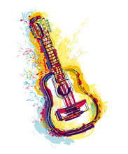 Guitar With Grunge Watercolor ...
