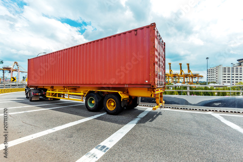 Papiers peints Montagne Truck transportation on the road with the blue sky