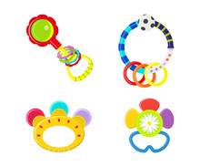 Vector Illustration. A Set Of Children's Toys. Rattle For Babies.