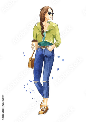 Casual street look, watercolor fashion illustration