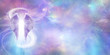 canvas print picture - Heavenly Angel Spirit Banner - a pair of Angel Wings with a swish of white energy behind set against a wide vivid cosmic Universe background with copy space
