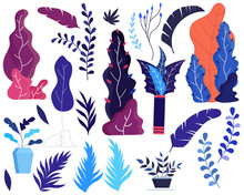 Fantasy Color Leaves Source Vector Illustration Flat Design.Stock Vector