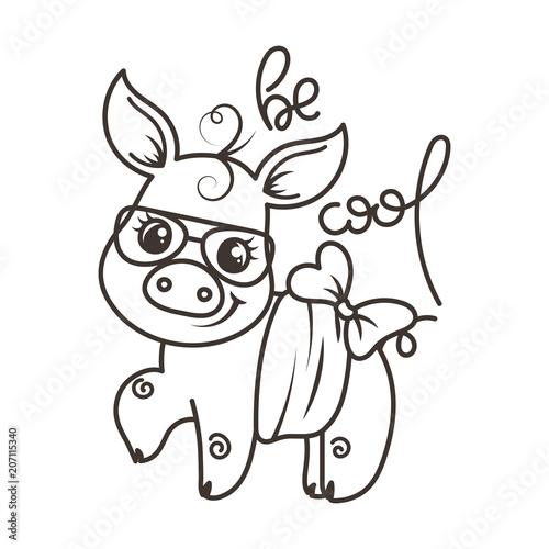 Tuinposter Doe het zelf Cute cartoon baby pig in a cool sunglasses