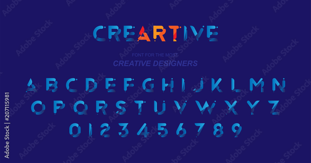 Oryginalna czcionka w kolorze niebieskim dla kreatywnego szablonu projektu. Płaska ilustracja EPS10 <span>plik: #207115981 | autor: vadish</span>