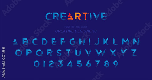 Fotografía  Original font in blue colour for creative design template