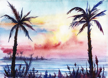 Sunset On The Tropical Coast. Silhouettes Of Palms And Grass Against A Background Of Purple Lilac Yellow Blue Pink Sunset. Sea Mountains Sky. Hand-painted Watercolor On Wet Paper Illustration.