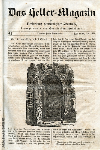Fotografering Arch of Titus, Rome (from Das Heller-Magazin, January 25, 1834)