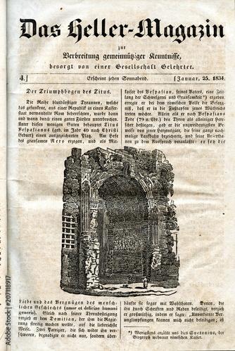 Obraz na plátně Arch of Titus, Rome (from Das Heller-Magazin, January 25, 1834)