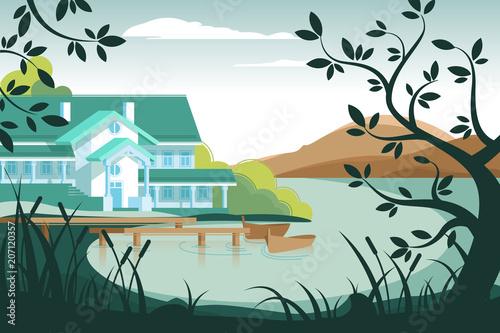 Obraz na płótnie Country house on river bank