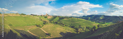 Photo Serralunga d'Alba town on the hill surrounded by vineyards and fields, Panoramic view with blue sky