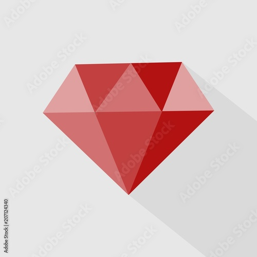 Fotomural  Ruby vector icon. Icon gemstone red ruby.