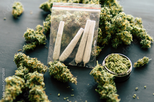 Photo  rolled joint with marijuana against the background of fresh cones of cannabis fl