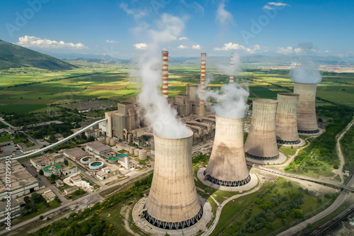 Aerial view the plant producing electrical energy with large pipes at Kozani in northern Greece.