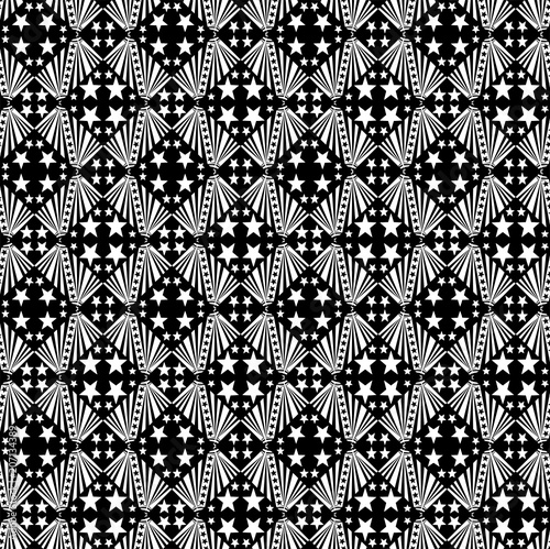 Cotton fabric Seamless decorative pattern with a five-pointed stars in a black - white colors