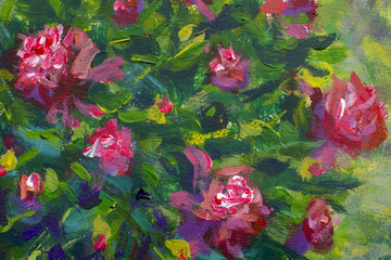 FototapetaA beautiful summer bush of peonies. Violet flowers of peonies close-up. Fragment of oil painting.