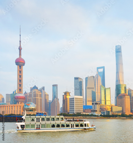 Pudong river cruise. Shanghai Downtown