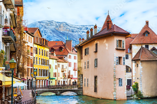 Old town with medieval architecture in Annecy, France. Canvas Print