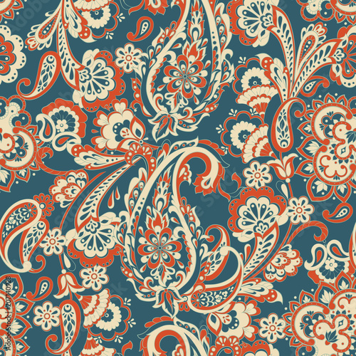 Cotton fabric paisley seamless Vector pattern. batik style background