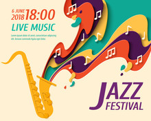 International Jazz Day - Music Paper Cut Style Poster For Jazz Festival Or Night Blues Retro Party With Saxophone And Notes. Vector Paper Craft Vintage Music Background
