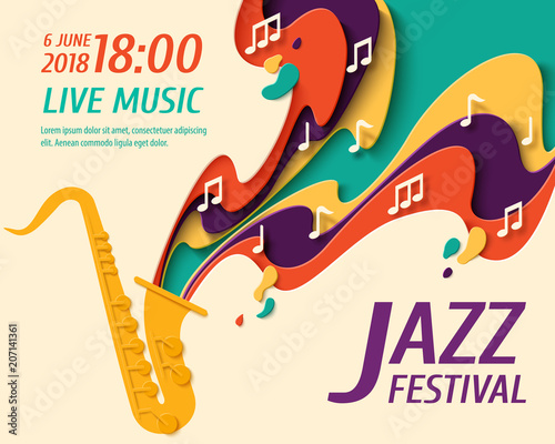 Photo  International Jazz Day - music paper cut style poster for jazz festival or night blues retro party with saxophone and notes