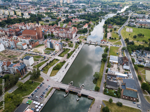 Poster Channel Aerial: The canal of Elblag, Poland