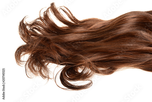 Fotografie, Obraz  long curly brunette brown hair isolated
