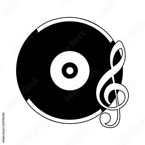 Láminas  retro vintage vinyl note musical song vector illustration black and white