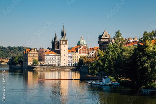 Staande foto Praag Vltava river and Prague cityscape in Czech Republic