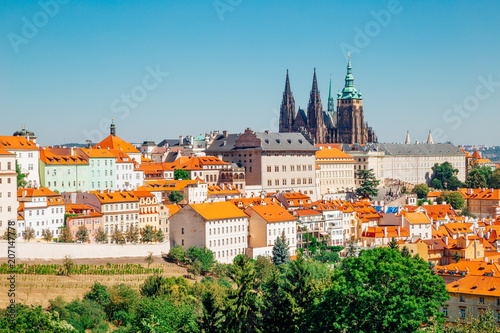 Staande foto Praag Prague castle and St. Vitus Cathedral from Petrin hill in Czech Republic