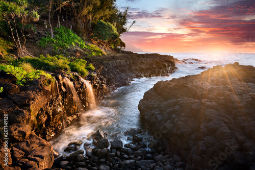 Recess Fitting Waterfalls Sunset at Queen's Bath, Kauai, Hawaii