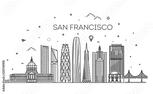 Fényképezés  San Francisco city skyline vector background