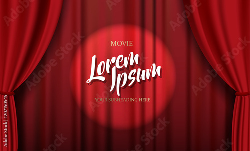 Teathre stage template with red heavy curtain and golden text. Wallpaper Mural