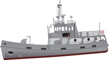 A Detailed Illustration Of A Navy Support Ship Equipped For Diving And Salvage With Grey Livery And Red Oxide Boot Topping And An Array Of Radar Navigation Equipment And Recovery Cranes Isolated