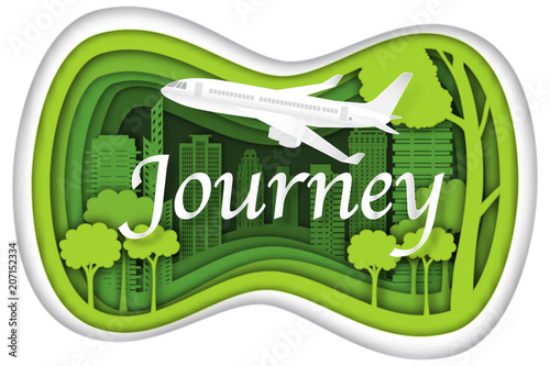 Poster Lime groen Carving design of city urban and airplane with green nature as business, travel in the popular cityscape, transportation, ecology idea, Paper cut art and craft style concept. vector illustration.