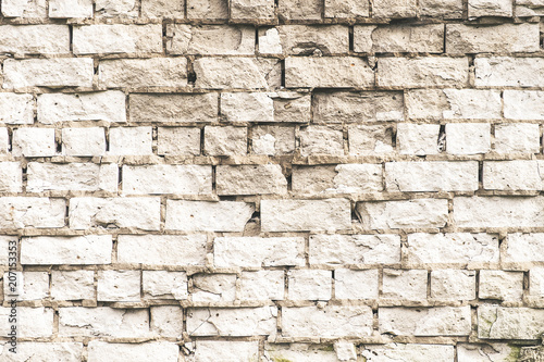 Foto op Plexiglas Wand old white brick wall texture for background