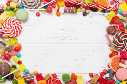 Poster Confiserie Colorful sweets. Lollipops and candies