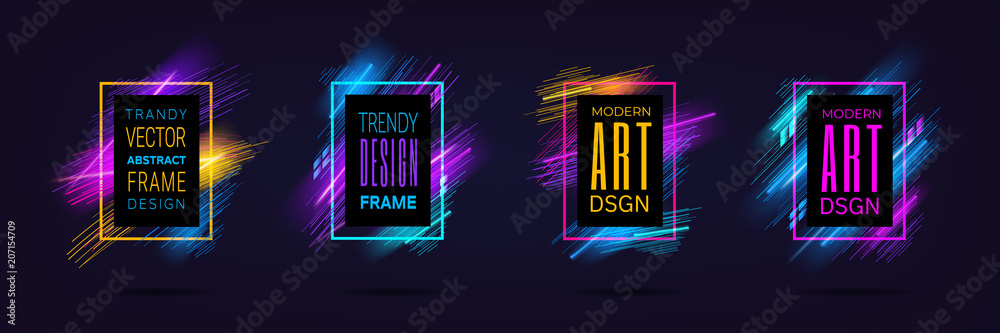 Fototapeta Vector modern frames with dynamic neon glowing lines isolated on black background. Art graphics with laser effect. Design element for business cards, gift cards, invitations, flyers, brochures.