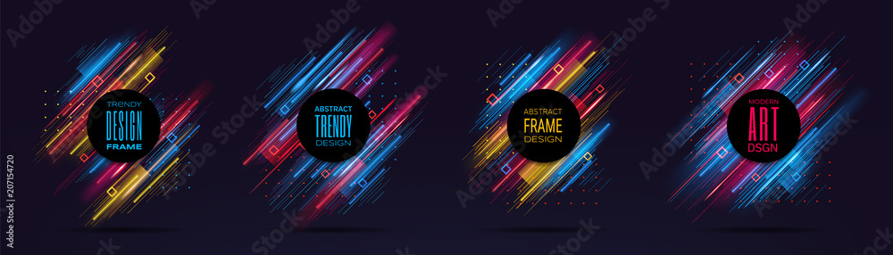 Fototapeta Vector modern frames with dynamic neon glowing lines isolated on black background. Art graphics with glitch effect. Design element for business cards, gift cards, invitations, flyers, brochures.