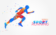 Runner With Colorful Spots Isolated On White Background. Liquid Design With Colored Paintbrush. Vector Illustration Of Athletics, Marathon, Run. Sports, Competition Theme.Concept Of Active Lifestyle.