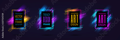 Fototapeta Vector modern frames with dynamic neon glowing lines isolated on black background. Art graphics with laser effect. Design element for business cards, gift cards, invitations, flyers, brochures. obraz