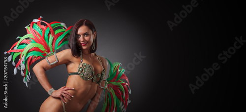 Canvas Prints Carnaval Beautiful woman in carnival costume with feathers and rhinestones.