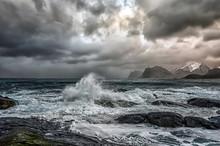 Stormy Sea And Beach, Flakstad, Lofoten, Nordland, Norway
