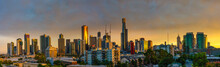City Skyline View From Southbank At Sunrise, Melbourne, Victoria, Australia
